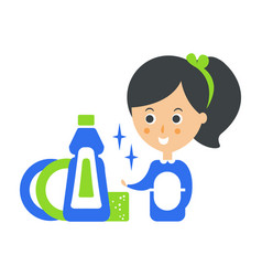 Cleanup service maid and clean dishes cleaning vector