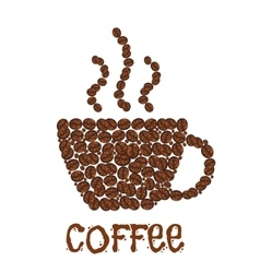 Coffee beans or grains forming steaming cup vector