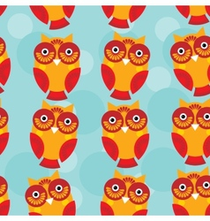 Cute seamless pattern with owl on a blue vector image