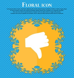 Dislike thumb down floral flat design on a blue vector