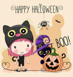 halloween card with girl and cat vector image