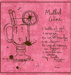 Hand drawn Mulled Wine cocktail vector image vector image