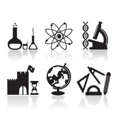 icons with school subjects vector image
