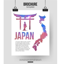 Japan travel background Brochure with Japan map vector image vector image