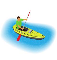 kayaker character paddling on a kayak sports vector image