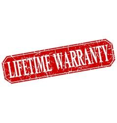 Lifetime warranty red square vintage grunge vector