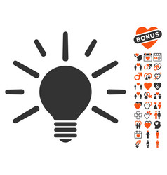 light bulb icon with love bonus vector image