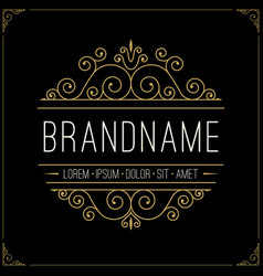 Luxury logo in vintage style line art monogram vector