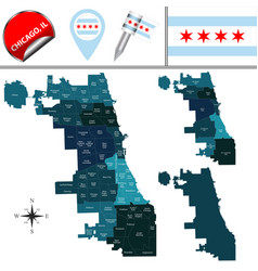 map of chicago with community areas vector image vector image