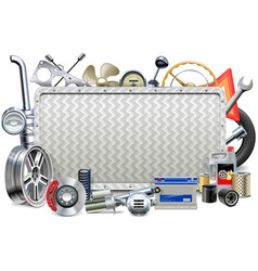 Metal Board with Car Parts vector image vector image