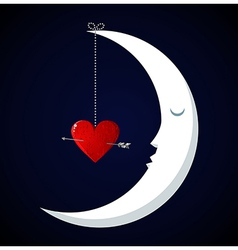 Moon valentines day background vector