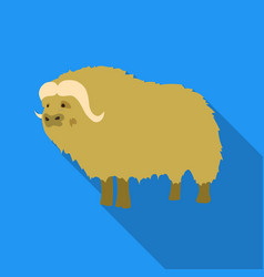 Muskox of stone age icon in flate style isolated vector