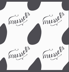 Mussels silhouette hand drawn seamless pattern vector