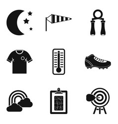 night workout icons set simple style vector image