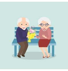 Old couple together Seniors happy leisure vector image