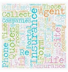 Online insurance quotes text background wordcloud vector