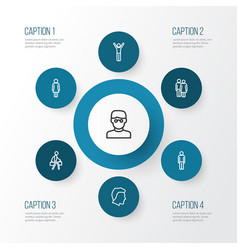 people outline icons set collection of man vector image vector image