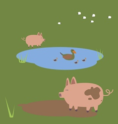 Rural with duck and pigs vector image vector image