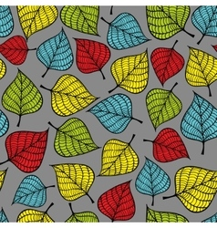 Seamless pattern with doodle leaves vector