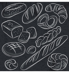 Set of different breads on blackboard vector