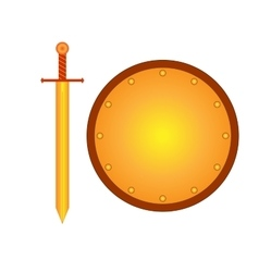 Set of sign shield and sword gold R 2208 vector image vector image