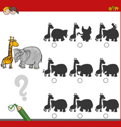 Shadow game activity with safari animals vector