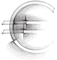 Sketch euro symbol vector