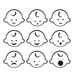 Smiley faces baby boy set vector