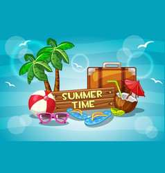 Summer time with cartoon objects vector