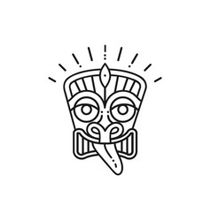 Tiki icon tiki mask head thin line art polynesian vector