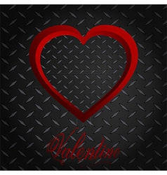 Valentine meatllic diamond heart and text vector