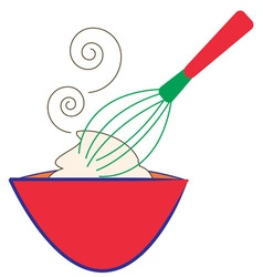 Whisk and bowl vector