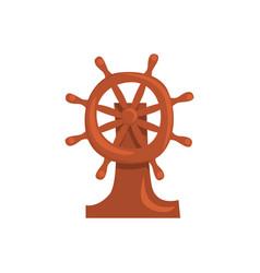 wooden steering wheel of a ship cartoon vector image vector image