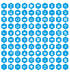 100 startup icons set blue vector