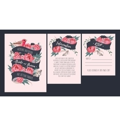 Wedding invitation with peonies vector