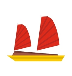 Vietnamese junk boat icon flat style vector
