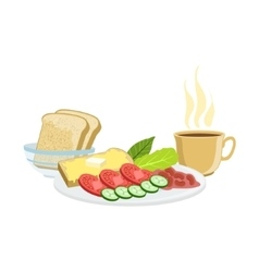 Coffee vegetables toasts and beans breakfast vector