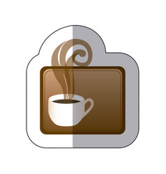 brown small squard symbol of coffee cup vector image