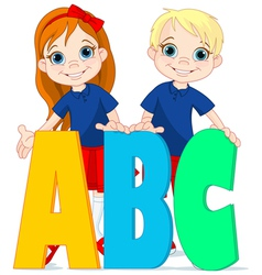 Two kids and letters vector