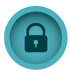 Blue circular frame with silhouette padlock vector
