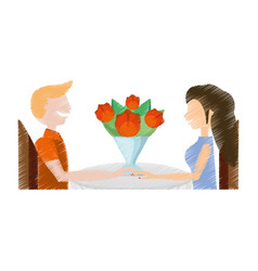 Drawing loving couple sitting date romance vector