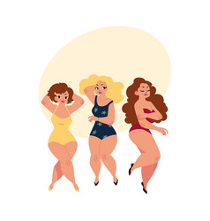 Plump curvy women girls plus size models in vector