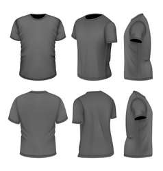All six views mens black short sleeve t-shirt vector image