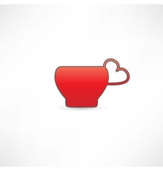 Red mug with a handle in the shape of heart vector