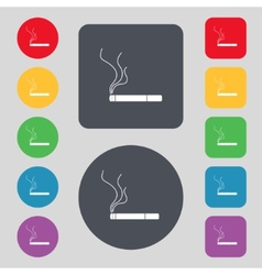 Smoking sign icon cigarette symbol set colourful vector