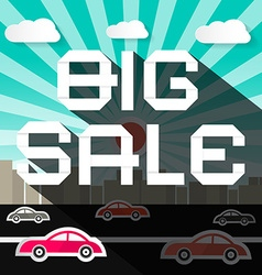 Big sale slogan on city with road and cars vector