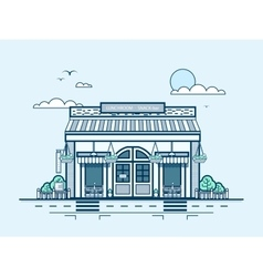 City street with snack bar bistro lunch room vector