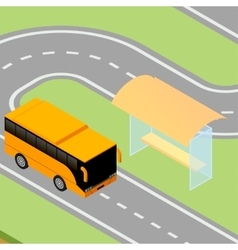 Isometric bus arriving to stop vector