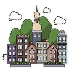 Flat town with church vector image