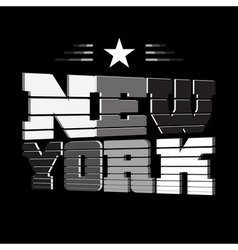 T shirt new york black white star vector